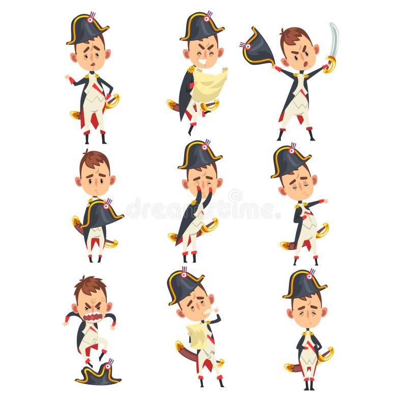 Napoleon Bonaparte-beeldverhaalkarakter, Frans historisch cijfer in verschillende situaties vectorillustratie op een wit royalty-vrije illustratie