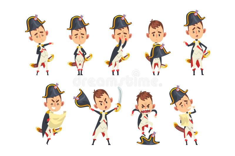 Napoleon Bonaparte-beeldverhaalkarakter, Frans historisch cijfer in verschillende situaties vectorillustratie op een wit stock illustratie