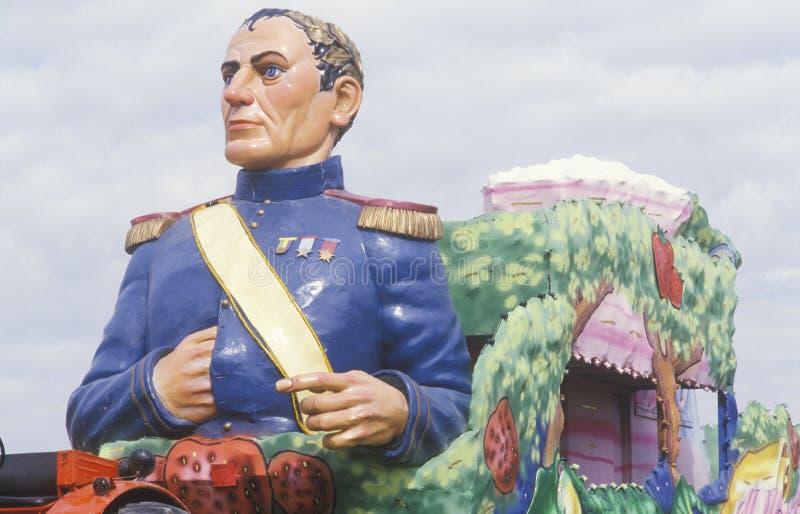 Napoleon Bonaparte Effigy op Vlotter in Mardi Gras Parade, New Orleans, Louisiane stock foto's