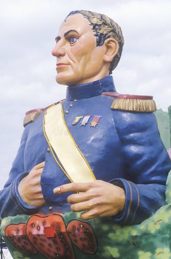 Napoleon Bonaparte Effigy op Vlotter in Mardi Gras Parade, New Orleans, Louisiane royalty-vrije stock fotografie