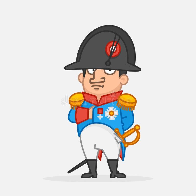 Napoleon Bonaparte houdt hand op borst Grappig karakter stock illustratie