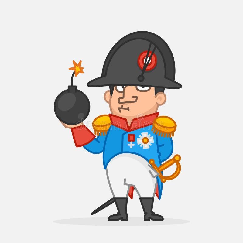 Napoleon Bonaparte poważny i mienie bomba Śmieszny charakter royalty ilustracja