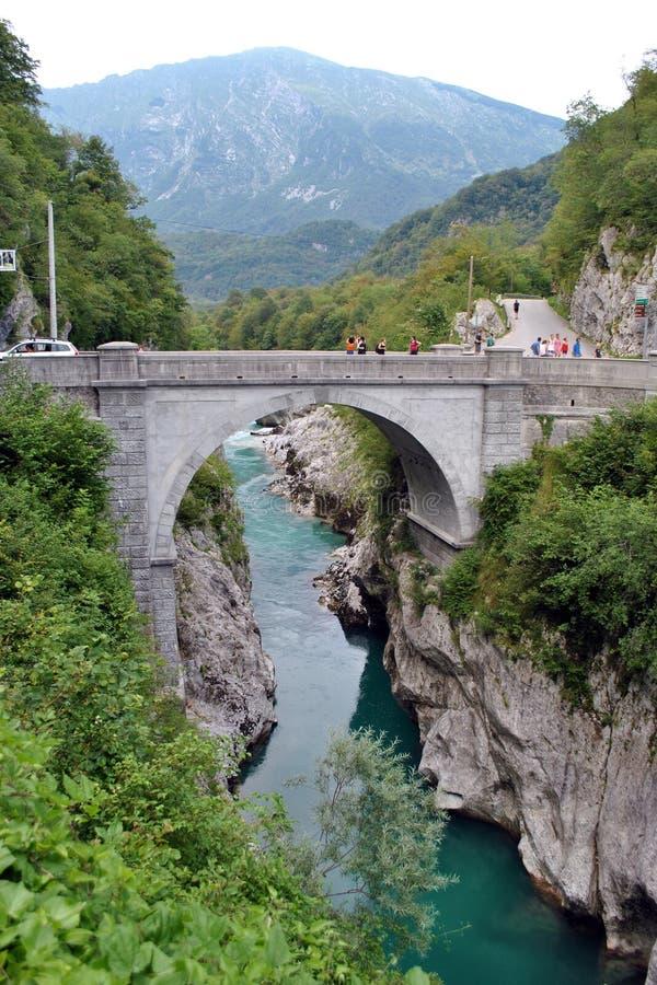 Napoleon bridge Kobarid. The Napoleon bridge above the emerald river Soca in Kobarid, Slovenia royalty free stock photography