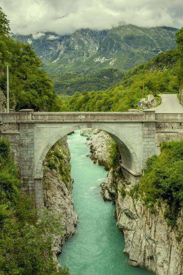 Napoleon bridge in Kobarid, Slovenia. Napoleon bridge in Kobarid town, Slovenia royalty free stock image