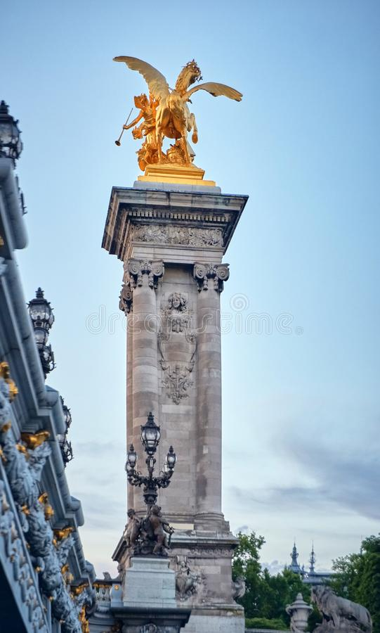 Napoleon bridge statue. stock image