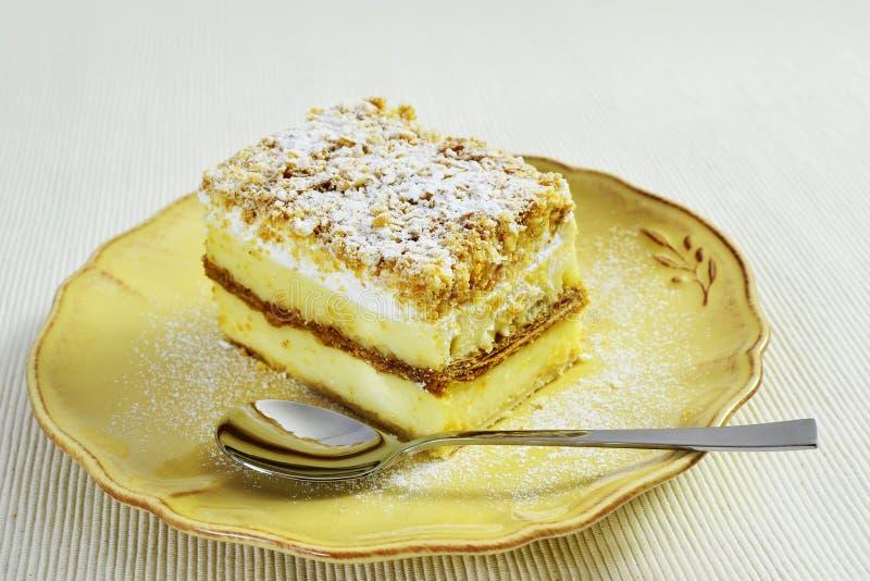 Napoleon cake closeup stock photography