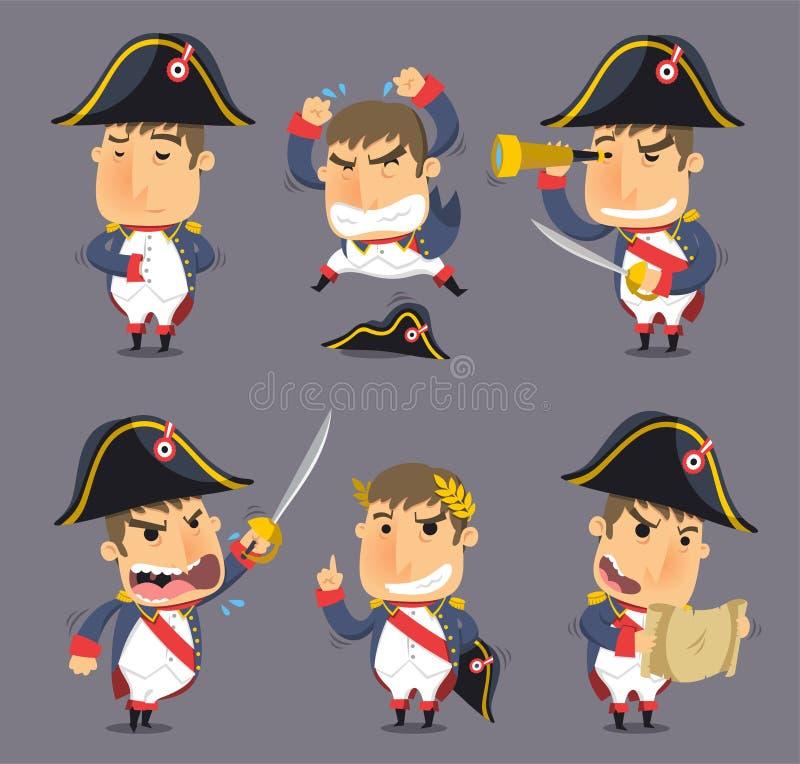 Napoleon cartoon action set. Napoleon Bonaparte Emperor of France Monarch Hegemony, illustration cartoon stock illustration