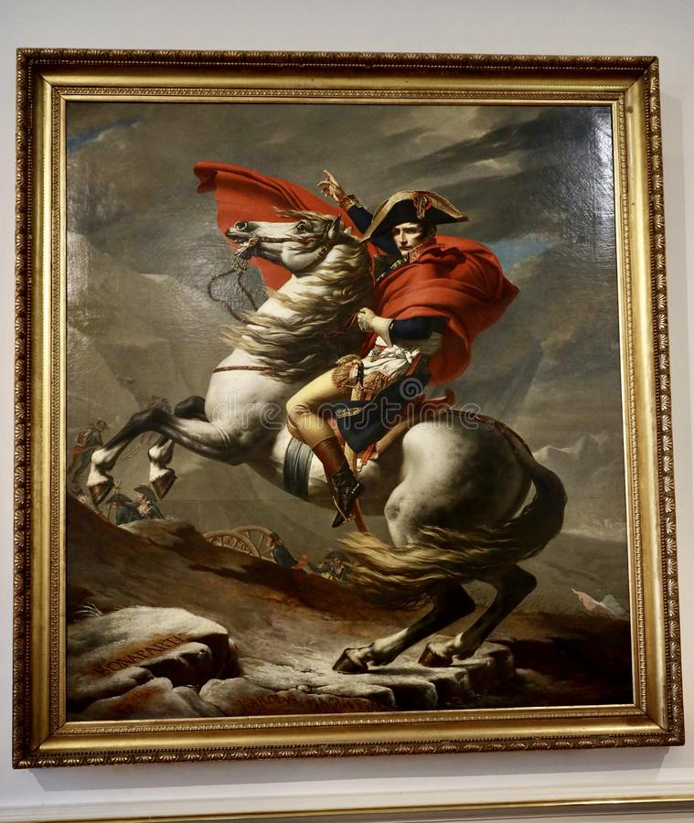 Napoleon Crossing the Alps. (also known as Napoleon at the Saint-Bernard Pass or Bonaparte Crossing the Alps (also known as Napoleon at the Saint stock photo