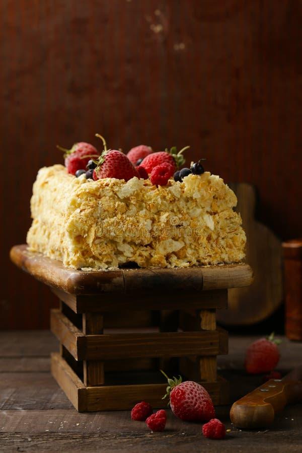 Napoleon gelaagde cake royalty-vrije stock afbeelding