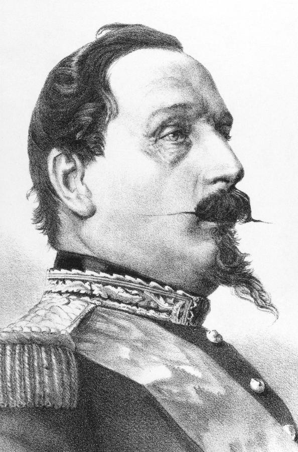 Napoleon III. Aka Louis Napoleon Bonaparte (1808-1873) on engraving from the 1800s. President of the French Second Republic and ruler of the Second French royalty free illustration