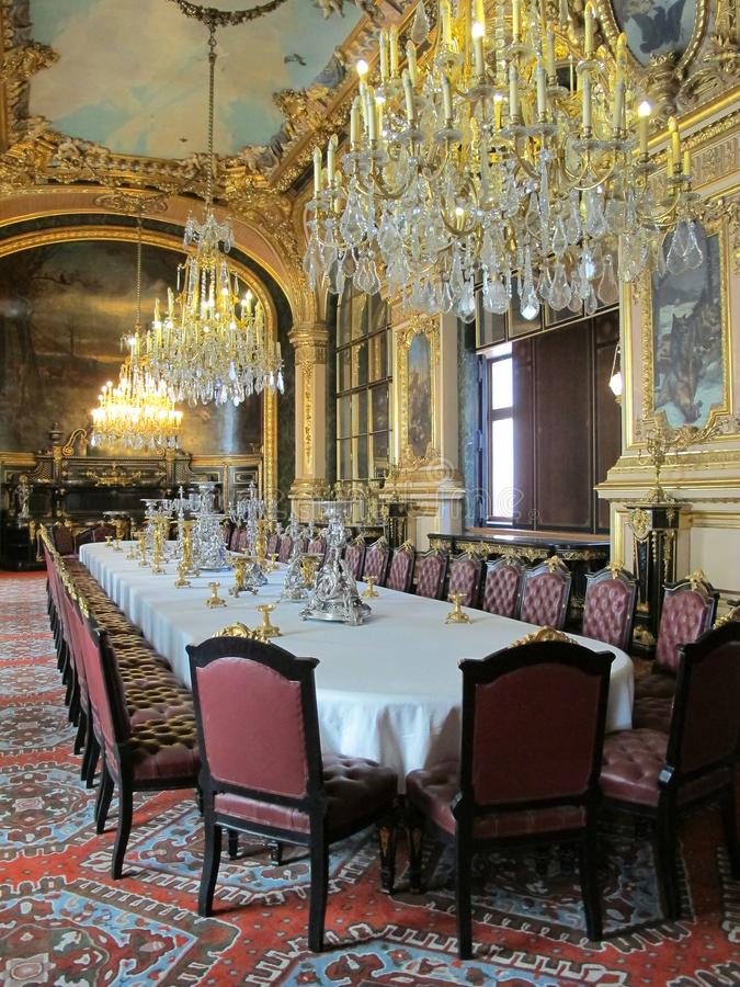 Napoleon III Dining Room in the Louvre Museum of Paris, France stock photos