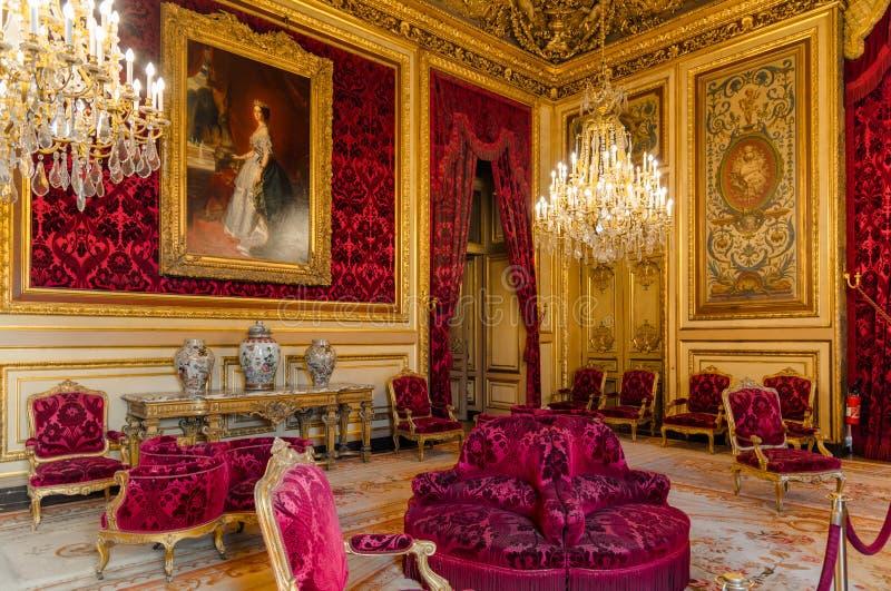 Napoleon III mieszkania, stanu salonu wn?trze, louvre muzeum, Paryski Francja zdjęcie stock