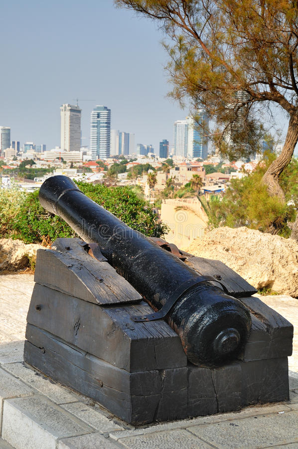 Napoleon`s cannon. Jaffa. stock photo