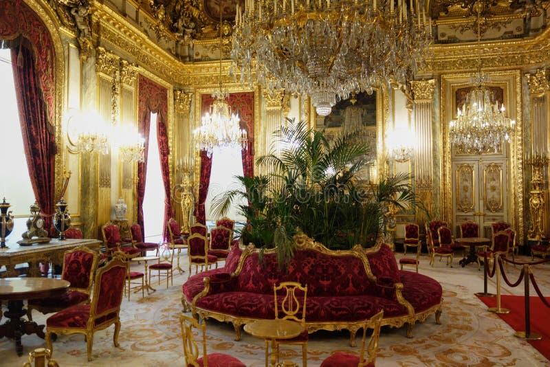 Napoleon` s flats binnen het Louvre stock foto