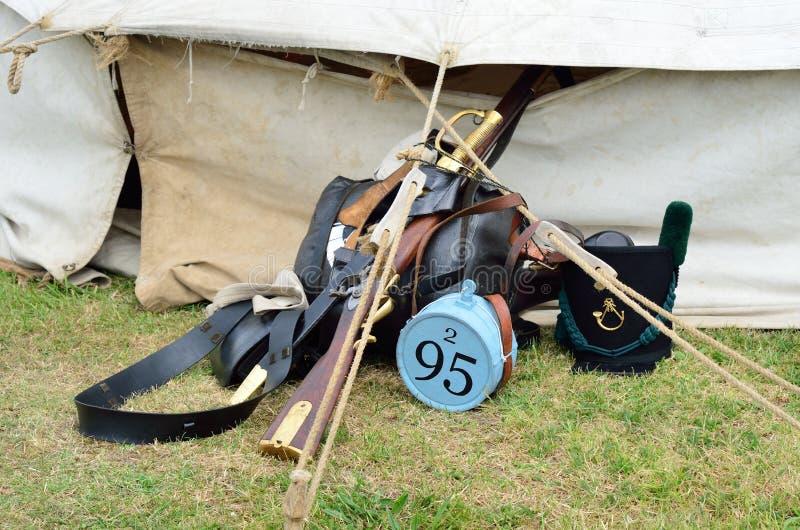 Napoleonische Infanterieausrüstung lizenzfreie stockfotos