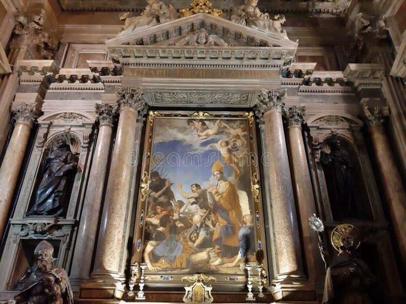 Napoli - Dipinto di San Gennaro sull`altare destro della Cappella del Tesoro. Naples, Campania, Italy - January 4, 2020: Baroque chapel of the Cathedral stock photo