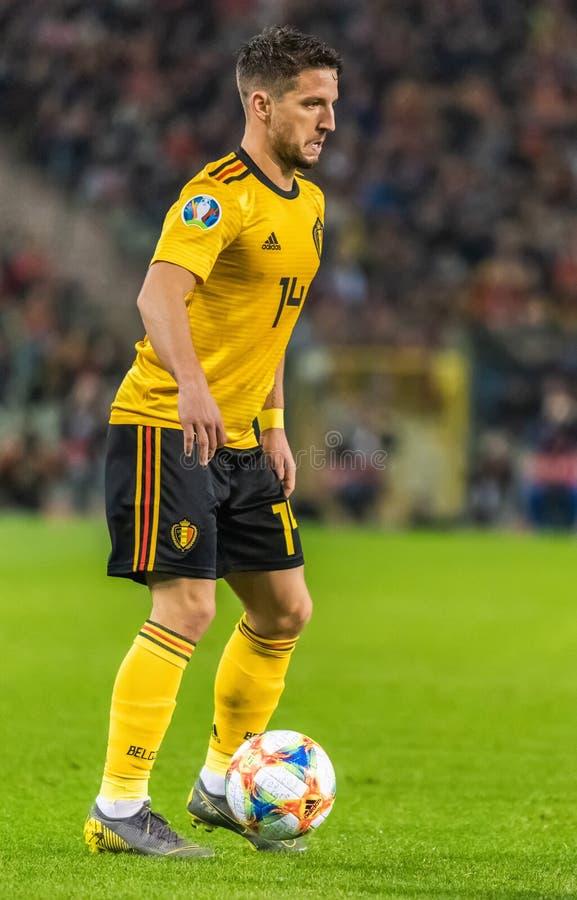 Napoli en striker van het de voetbalteam van België de nationale drogen Mertens stock foto