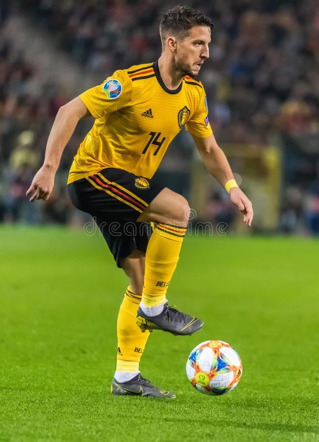 Napoli i Belgia drużyny futbolowej krajowy strajkowicz Suszymy Mertens zdjęcia royalty free