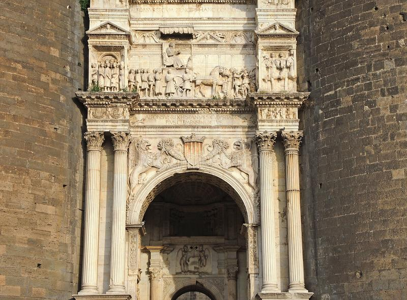 Napoli, Italy. Landscape at the Triumphal Arch of the castle Castel Nuovo, also called Maschio Angioino. Main monument stock image