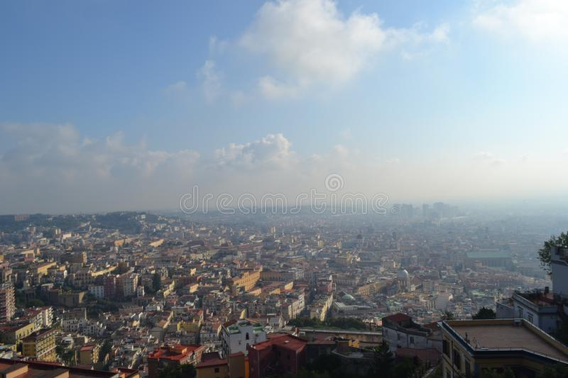 Napoli, Italy 2014. View on the morning of Napoli.city on the palm stock photography