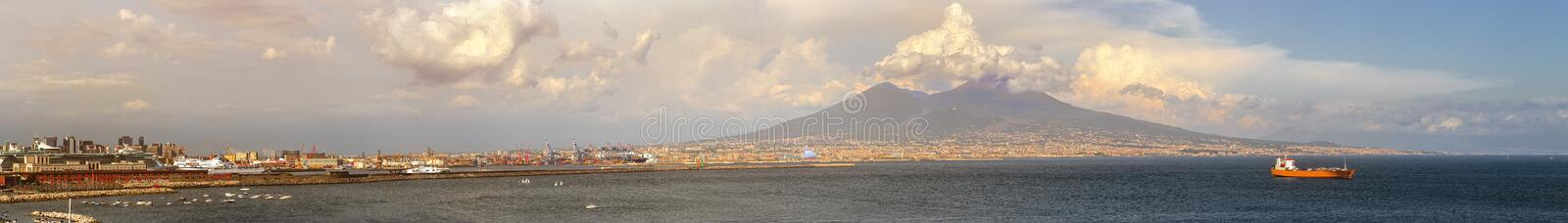 Napoli and mount Vesuvius at sunset in a summer day stock photos