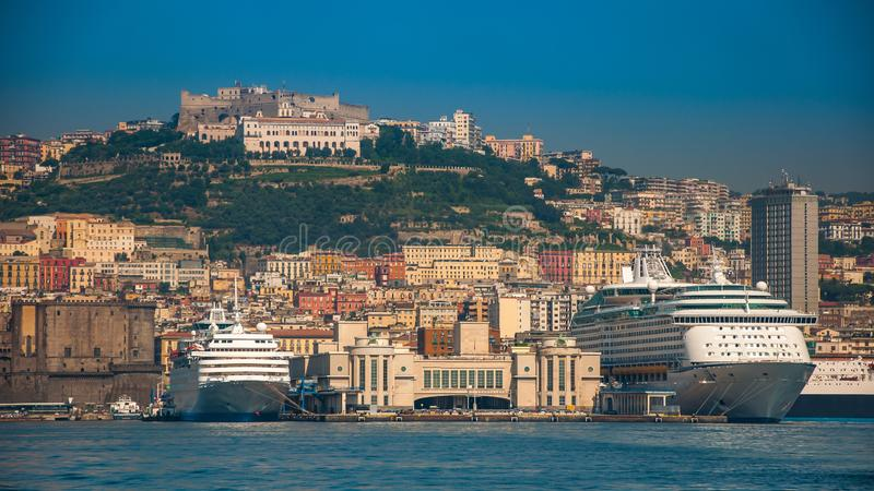Napoli Naples Italia Italy beautiful view postcard panorama hill cityscape landscape cruise ship. Amazing view stock photo