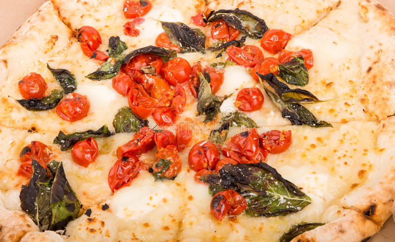 Napoli Pizza with Basil and Tomatoes royalty free stock image