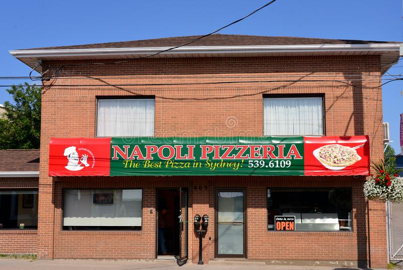 Napoli Pizzeria in Sydney, Nova Scotia. Sydney, Canada - August 4, 2017: Napoli Pizzeria on Charlotte St is a family run business established in 1962. It is very royalty free stock photo