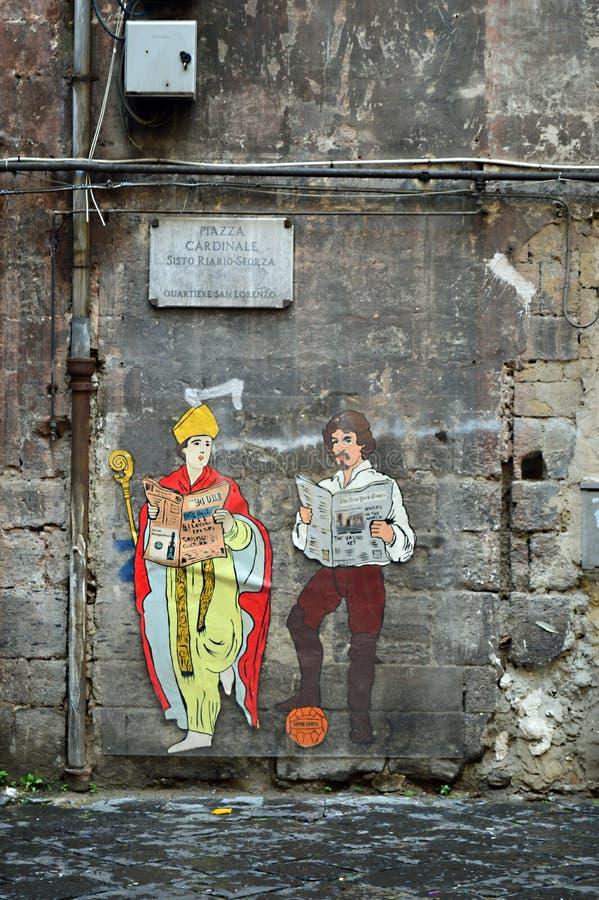 Napolitaanse straatkunst die een bischop kenmerken royalty-vrije stock afbeeldingen