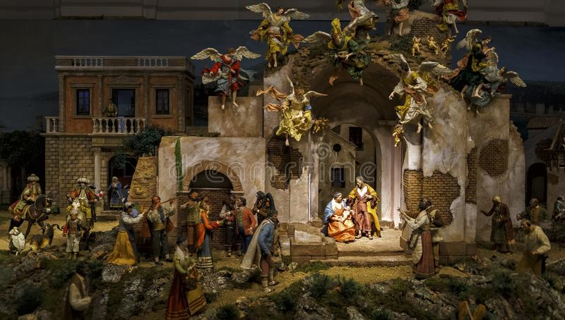 Napolitan Nativity Scene detail hand carved royalty free stock images
