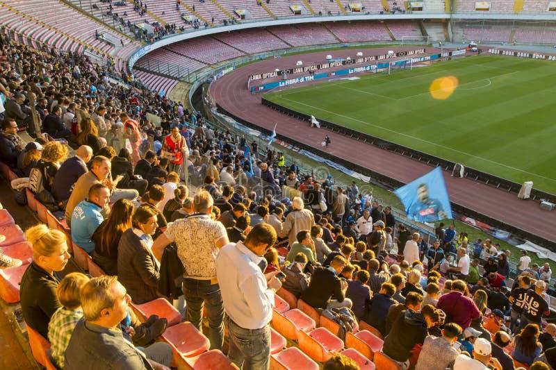 Napoliverdedigers bij het Stadion San Paolo royalty-vrije stock afbeelding