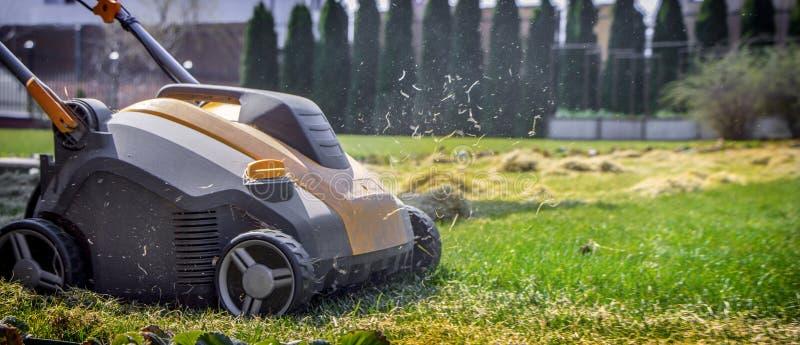 Napowietrzenie gazon w ogródzie Żółty przewietrznik na zielonej trawie zdjęcie stock