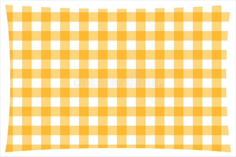 Nappe à carreaux jaune et blanche de cuisine illustration stock