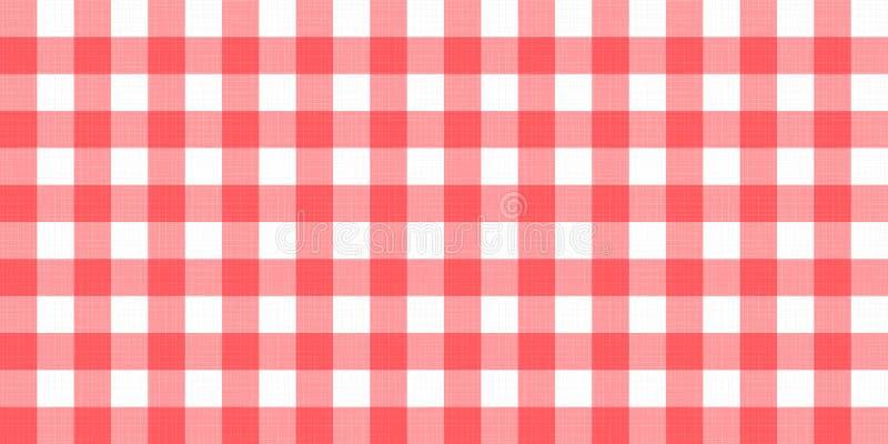 Nappe couvrante à carreaux rayée de guingan de vecteur Fond rouge blanc sans couture de modèle de serviette de nappe avec le text illustration stock