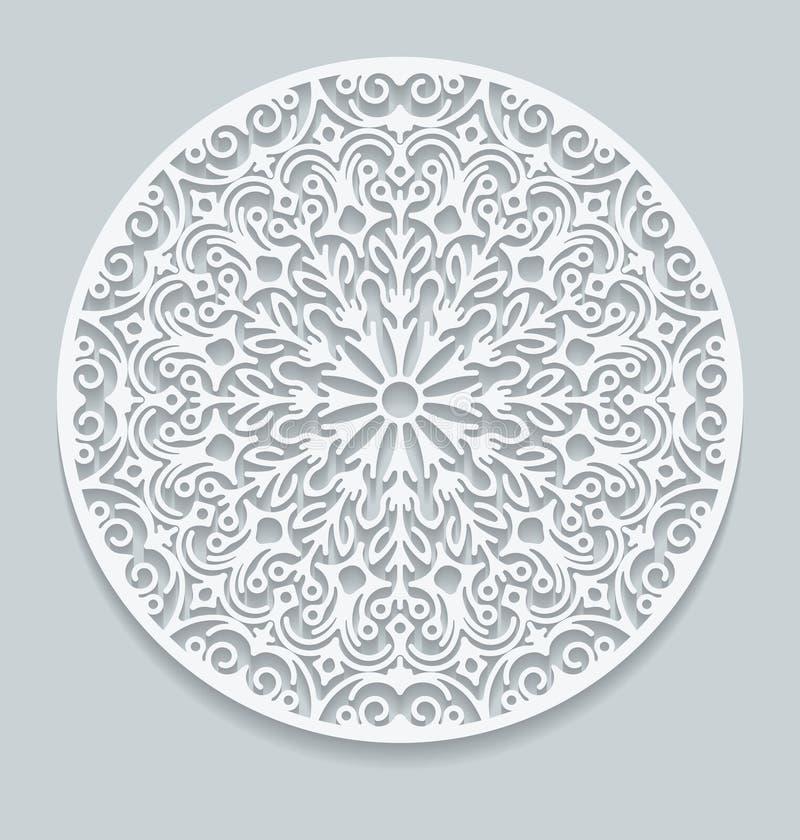 Napperon de papier rond de dentelle, carte de voeux Vec décoratif et géométrique illustration libre de droits