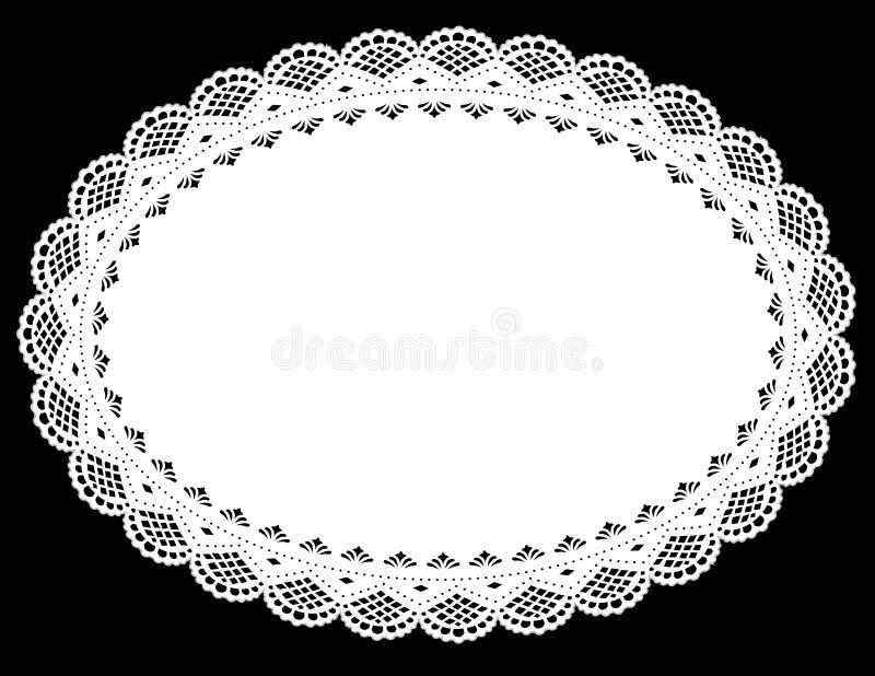 Napperon ovale de lacet (vecteur de jpg+) illustration stock