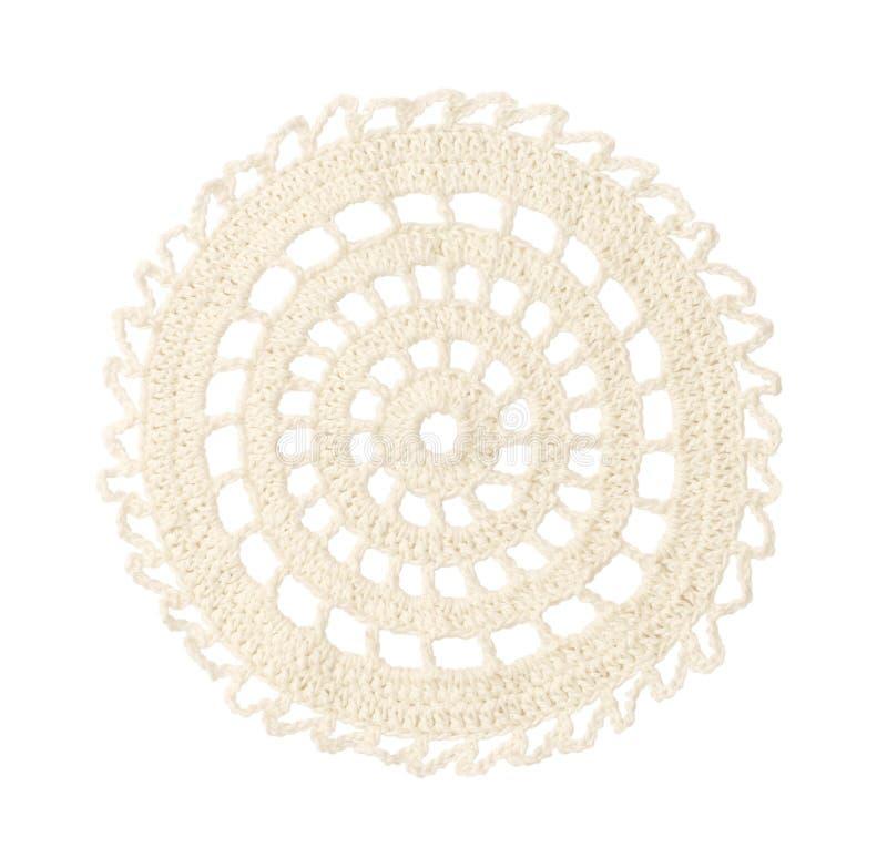 Napperon rond blanc de crochet photographie stock