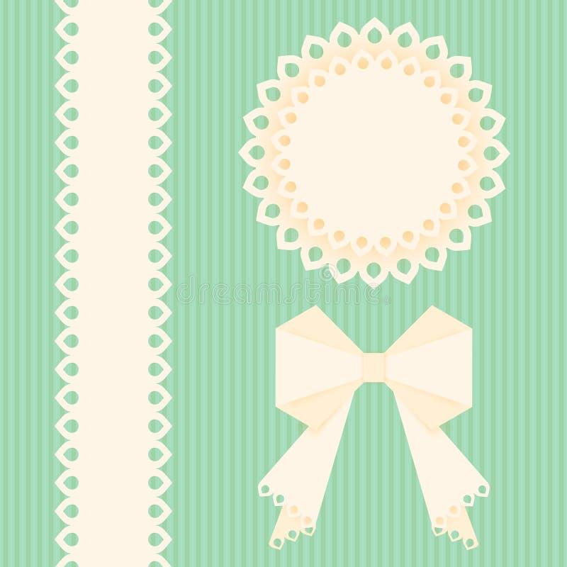 Napperons de dentelle avec l'arc et le ruban sur un fond vert Calibre de design de carte de salutation Serviette de papier de vec illustration libre de droits