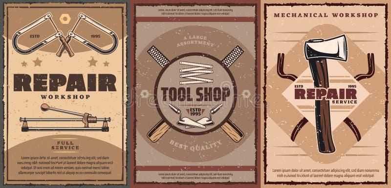 Napraw narzędzia, cioska, kielnie, taśmy miara, piętaki ilustracji