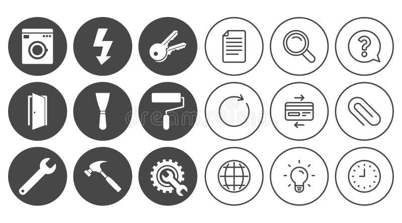 Naprawa, budów ikony Elektryczność, klucze royalty ilustracja