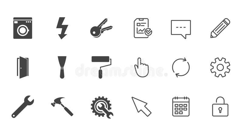 Naprawa, budów ikony Elektryczność, klucze ilustracja wektor