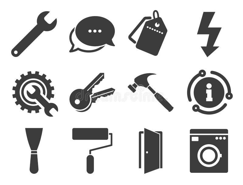 Naprawa, bud?w ikony Elektryczno??, klucze wektor ilustracja wektor