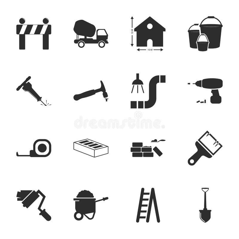 Naprawa, buduje 16 ikon ogólnoludzkich ustawiających dla sieci i wiszącej ozdoby ilustracja wektor