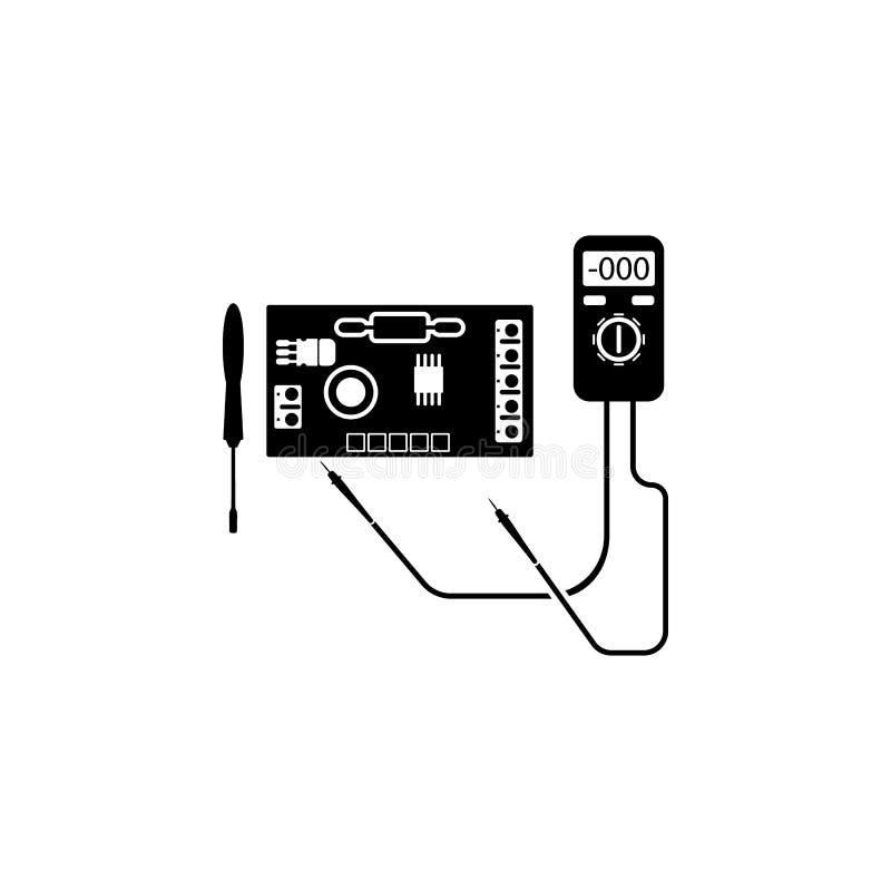 naprawa elektroniczny, układ scalony ikona Element remontowa ikona dla mobilnych pojęcia i sieci apps Szczegółowa naprawa elektro ilustracja wektor