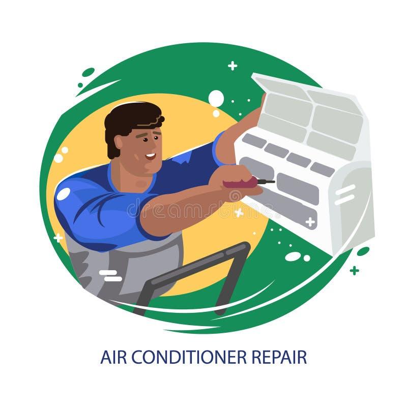 Naprawa lotniczy conditioners Utrzymanie i instalacja ch?odniczy systemy ilustracja wektor
