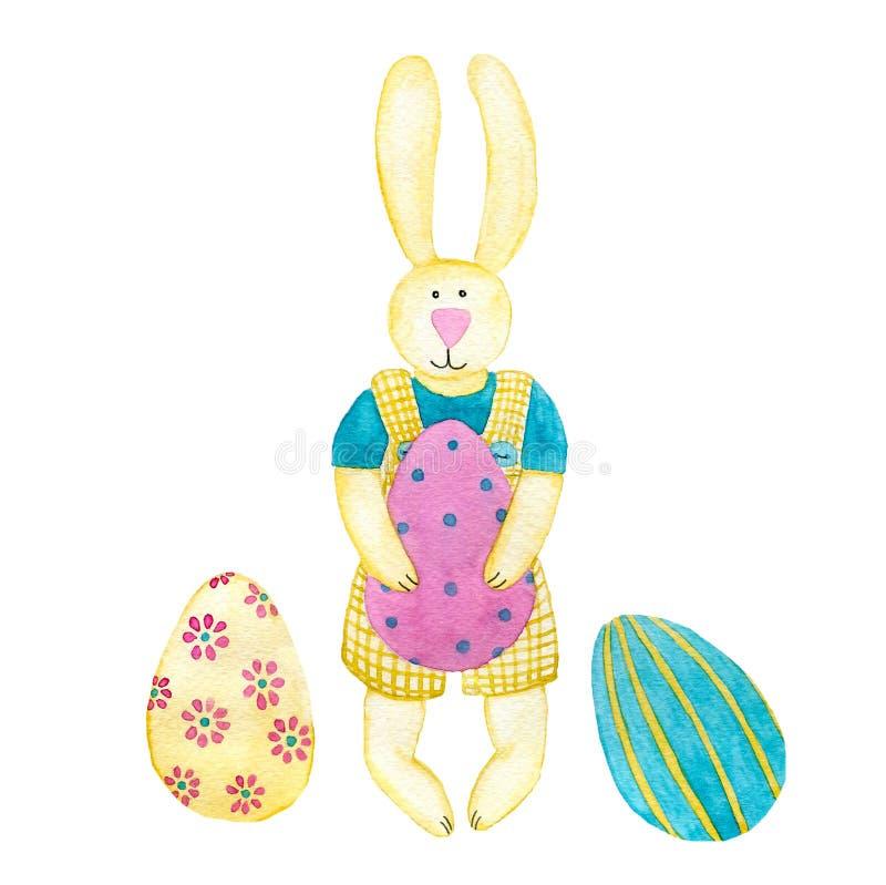 Naprawdę śliczny żółty królik z malującymi jajkami obrazy stock