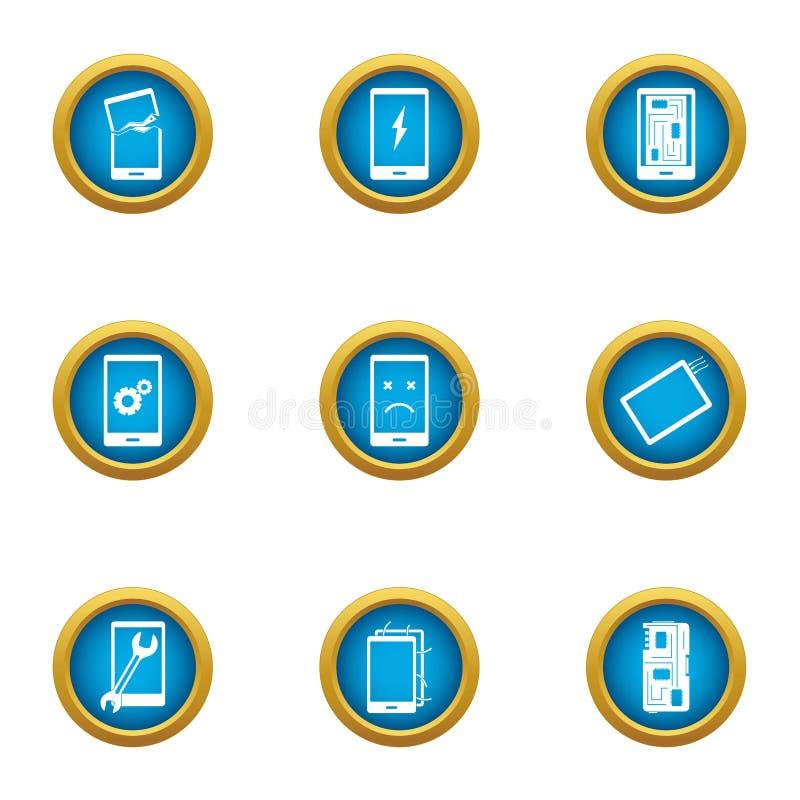 Naprawia telefon ikony ustawiać, mieszkanie styl royalty ilustracja