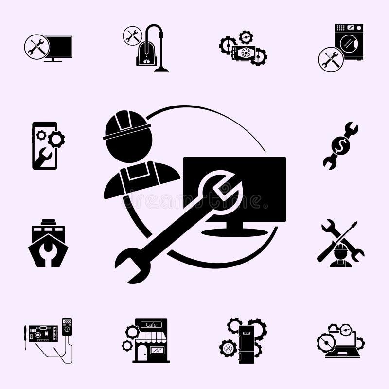 naprawiacz, wyrwanie, TV naprawy ikona Remontowy ikony og?lnoludzki ustawiaj?cy dla sieci i wisz?cej ozdoby ilustracja wektor