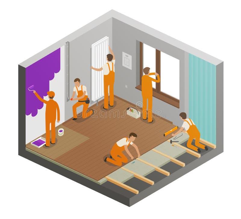 Naprawiania mieszkania pojęcie Robot budowlany, budynek, naprawa, wnętrze ilustracji