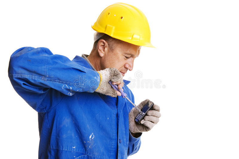 naprawiania telefon komórkowy robociarz zdjęcie stock